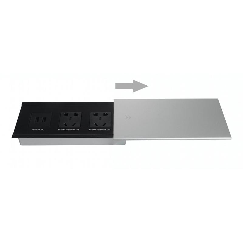 奥盛侧滑平推式桌面插座 多媒体铝合金拉丝办公桌插座 金属桌插