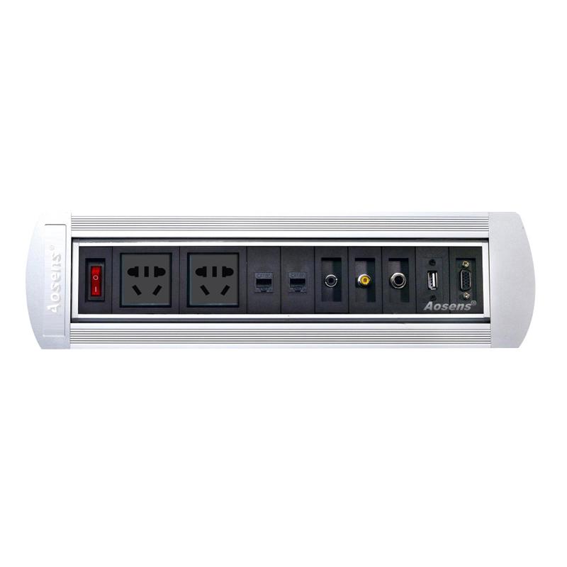 Aosens奥盛手动翻转插座 180度翻转桌面插座 会议桌插 旋转插座